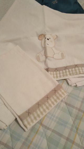 juego sabanas algodón bebé sin estrenar