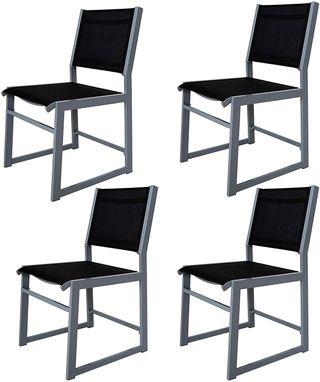 Juego de 4 sillones de aluminio tapizados