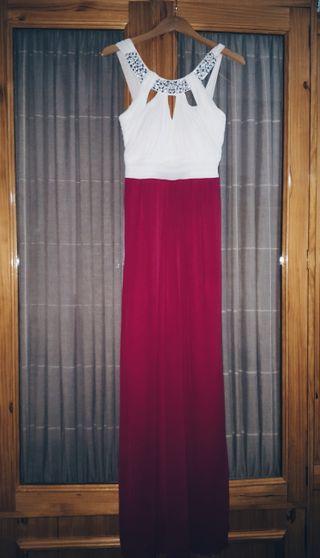 Vestido fiesta largo blanco y rosa