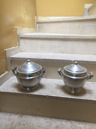 Soperas antiguas de aluminio