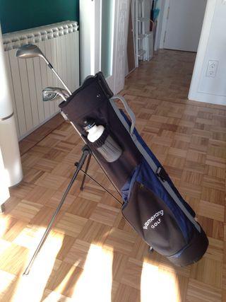 Bolsa de golf a estrenar, con cuatro palos (1,7,S)