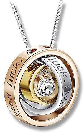 NUEVO Collar de anillos chapado oro y plata de ley