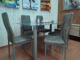 Conjunto Comedor mesa cristal 6 sillas (Avatar)