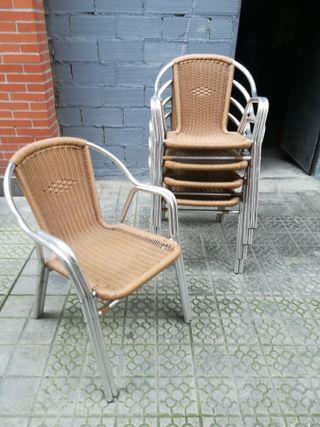 2 sillas terraza mimbre y aluminio