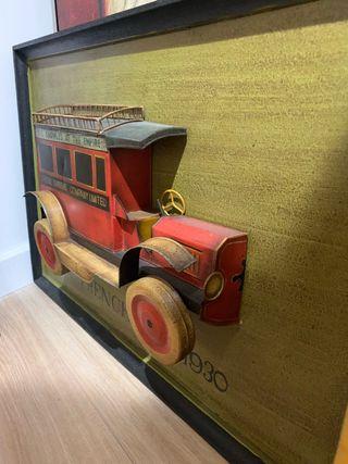 Cuadro madera y metal coche clásico 1930