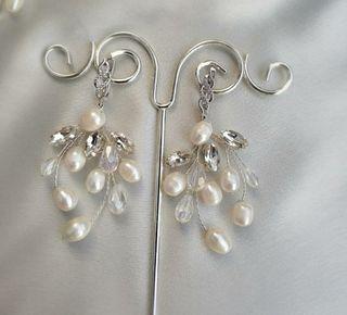 Pendientes de novia invitada joya Artesanal plata