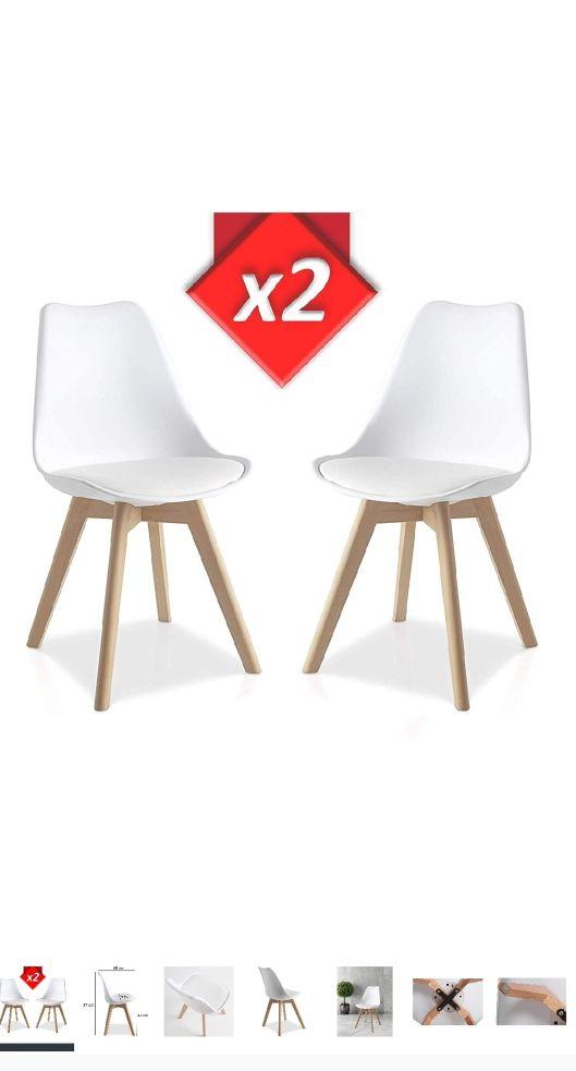 dos sillas blancas, pata madera, estilo nordico