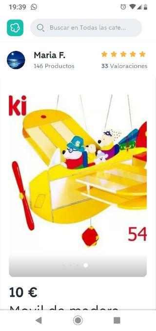 Avión móvil de madera para dormitorio infantil