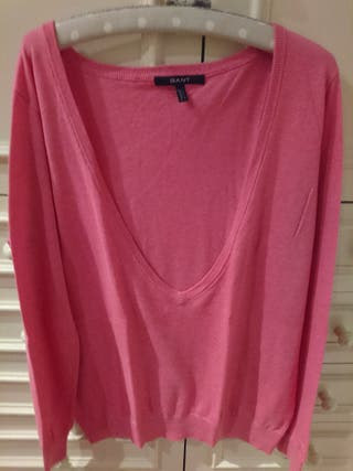 jersey en pico rosa Gant