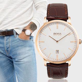 Reloj Hugo Boss 1513463 Acero rosa Cuero Marrón