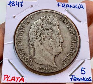 Moneda PLATA FRANCIA 5 Francos 1847