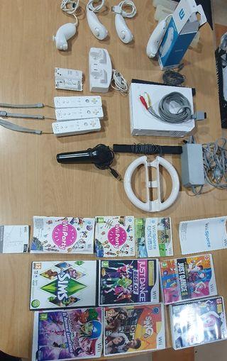 Wii con mandos y juegos