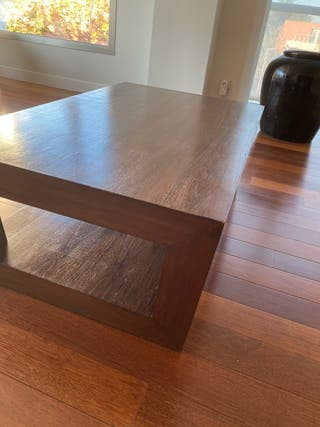 Mesa centro de madera y mesa auxiliar a juego