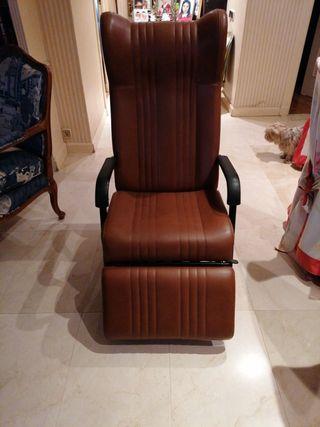 sillón plegable relax marrón tipo cuero