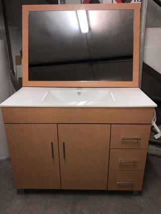 Mueble baño 100 cm con encimera y espejo