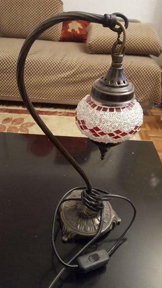 antigua lámpara sobremesa de bronce y cristal