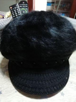 gorra de pelo de mujer de invierno negro