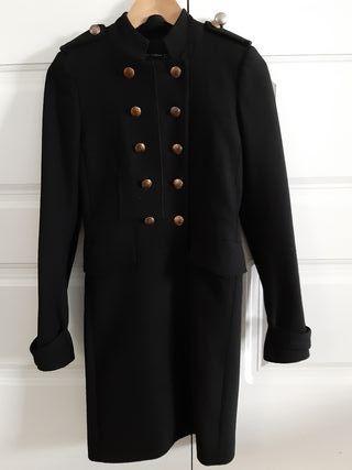 Abrigo Zara Negro Estilo Militar XS