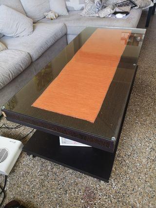 mesa con cristal abatible