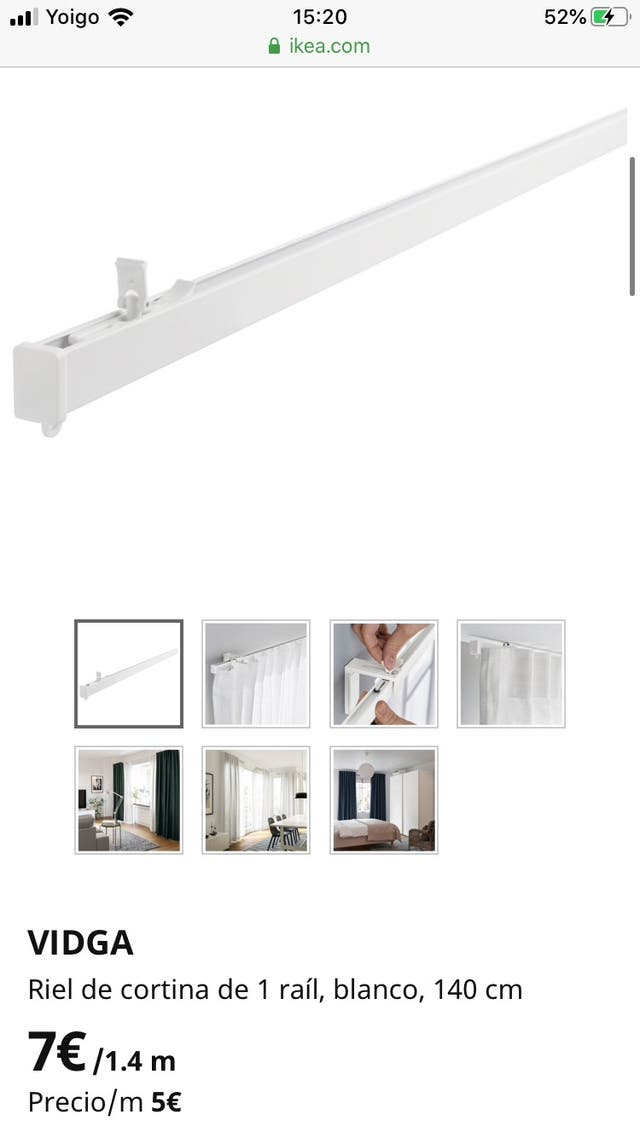 Riel cortina techo Ikea Vidga