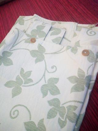 cortina opaca verde y blanco