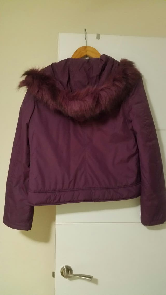 abrigo plumas plumifero chaqueta morada