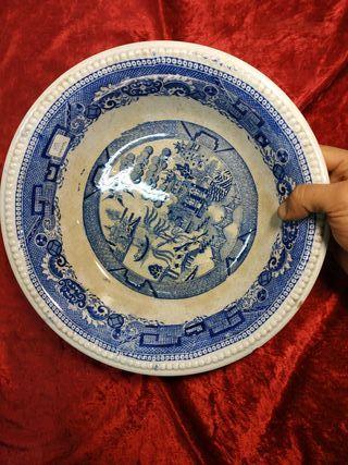 Plato jofaina loza muy antigua china s.XVIII