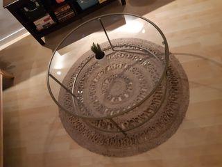 alfombra yute redonda salón. A mano 120cm