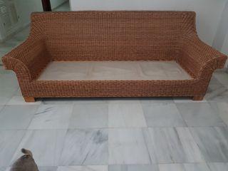 sofá de mimbre 3 plazas 238x100x90 alto