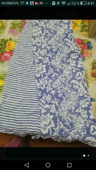 Bufanda pañuelo tela. Reversible en tonos azules