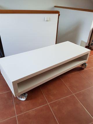 Mueble Tv imagen y sonido blanco con ruedas