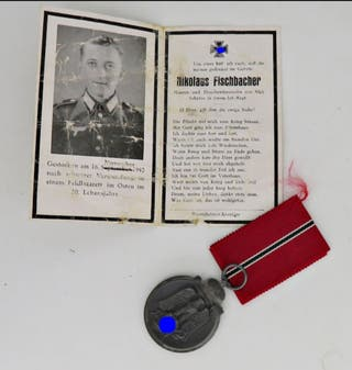 Medalla del frente oriental 41/42 + obituario WWII