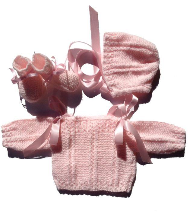 Conjunto bebe lana 0-3 meses rosa, nuevo