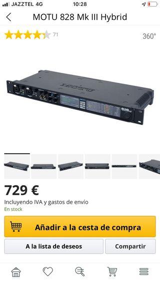 Tarjeta sonido interface audio MOTU 828 hybrid mk3
