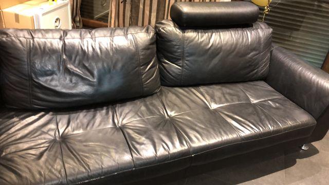 Sofá chaiselongue de piel diseño italiano