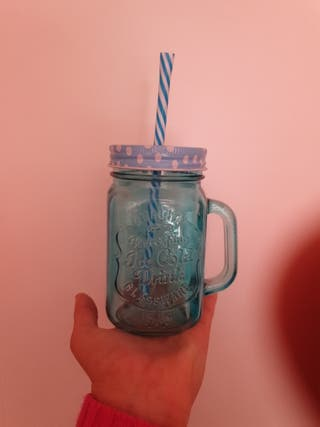 Vaso Tumblr con pajita azul