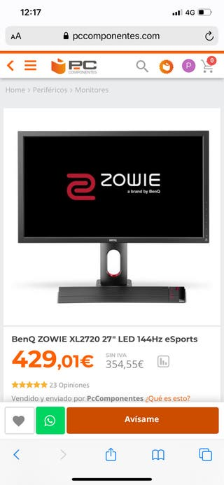 "BenQ ZOWIE XL2720 27"" LED 144Hz eSports"