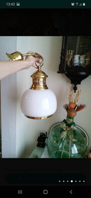 PRECIOSA LAMPARA CRISTAL Y LATON