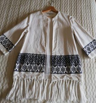 Kimono bordado flecos Zara