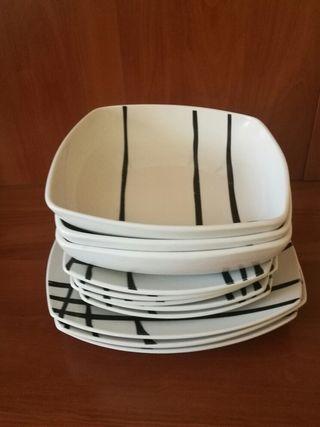 Vajilla - 11 piezas - blanco y negro