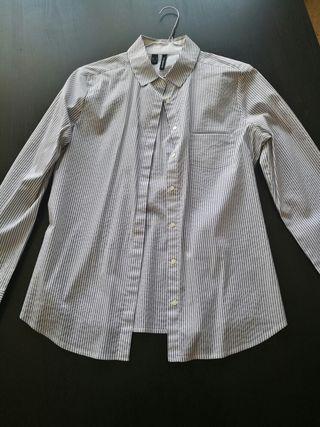 Camisa manga larga - Blanca con rayas azul marino