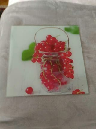 Cuadro cristal decoración cocina.