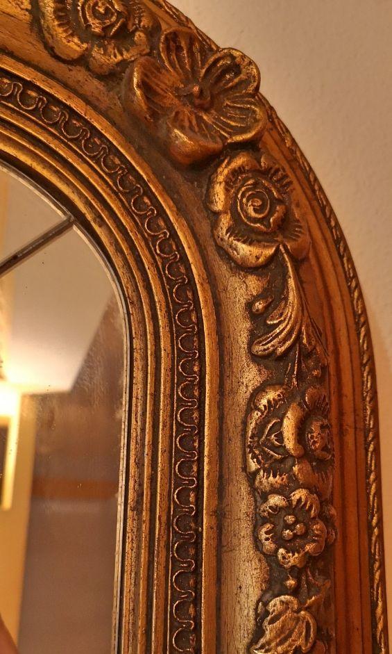 Espejo biselado antiguo cromado en pan de oro