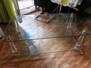 mesa de centro doble cristal