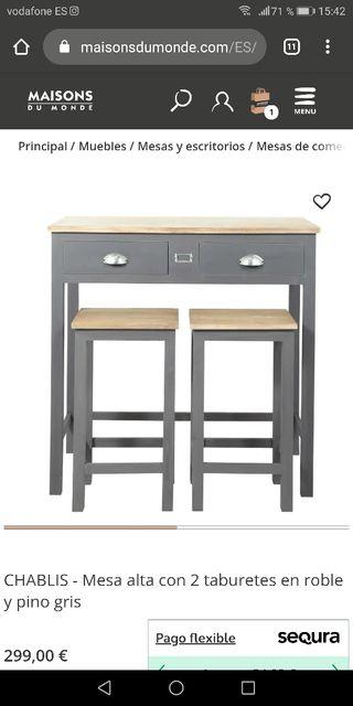 mesa alta cocina envejecida
