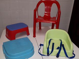 lote trona 2 en 1, banco baño y silla niñ@