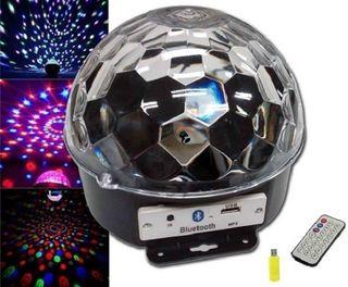 BOLA LED DISCO CON ALTAVOZ y BLUETOOTH-USB-MANDO