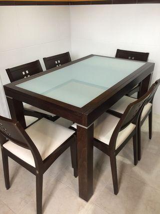 Conjunto mesa y 6 sillas