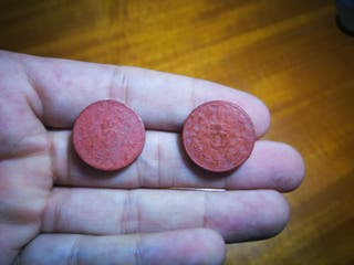 pareja de monedas de terracota de 5 fen china