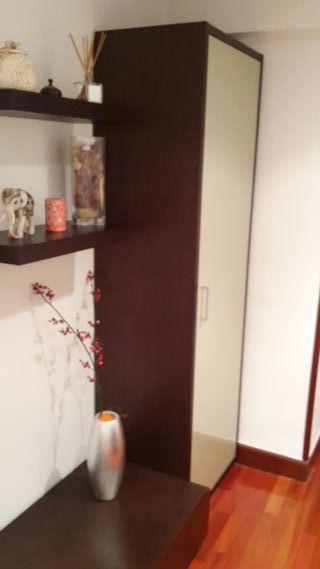 Armario. De madera. color wengue y puerta lacada.